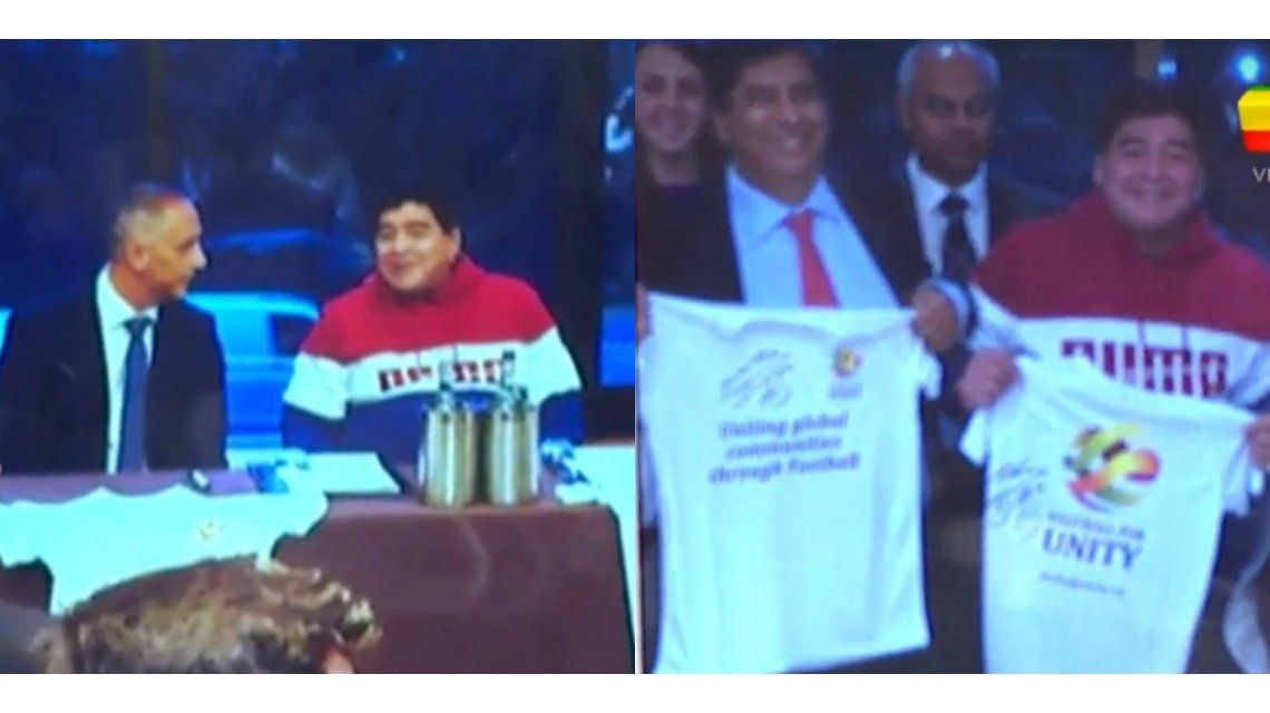 Diego Maradona firmó contrato con la Corona británica