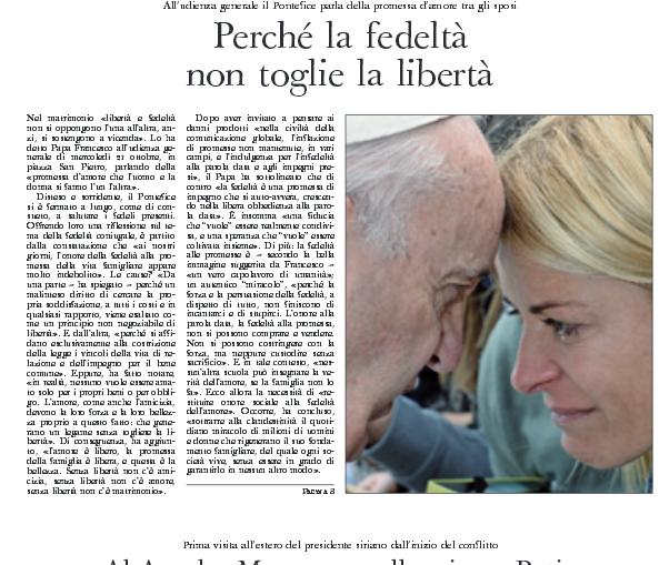 Emotiva foto de Eugenia Tobal con el papa Francisco ilustra la tapa del diario oficial del Vaticano
