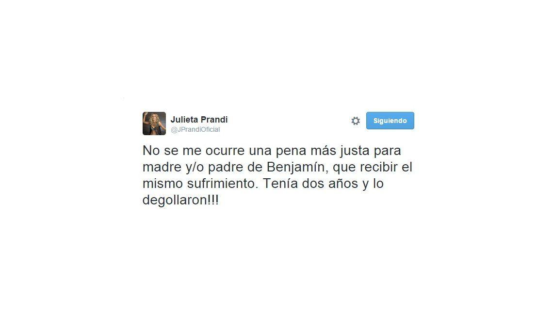 El polémico pedido de Julieta Prandi sobre la pena de muerte