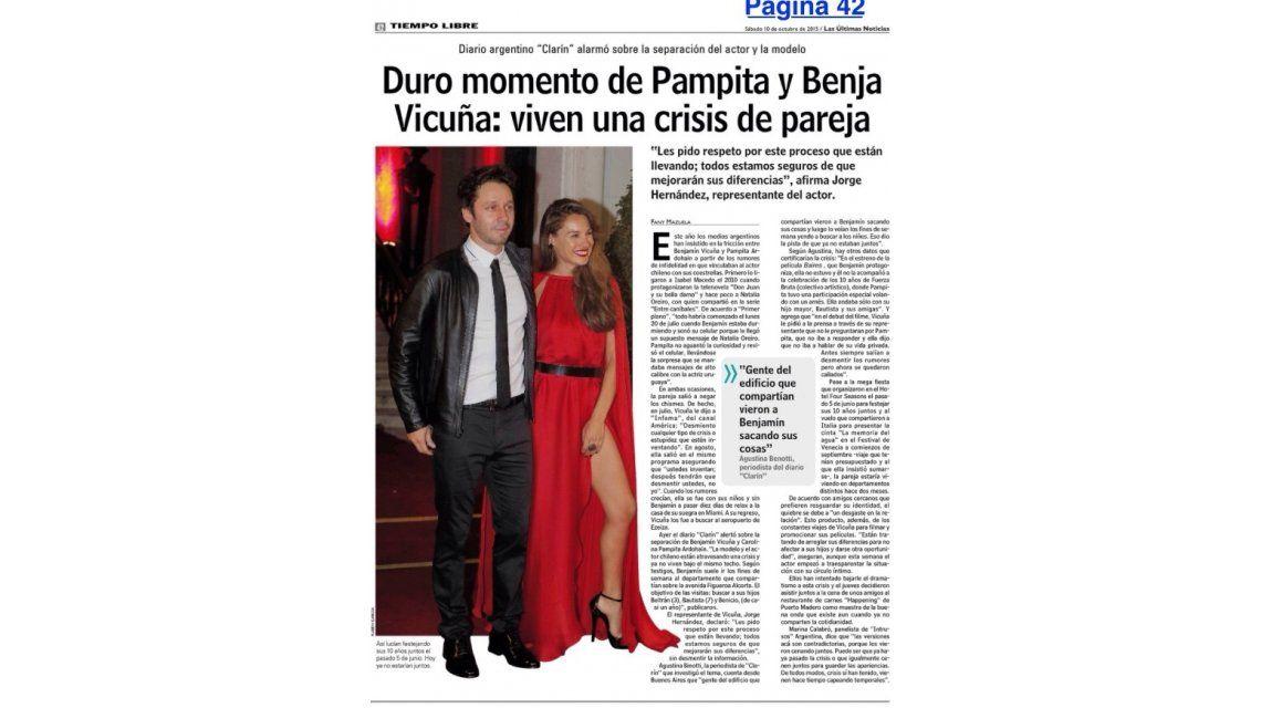 En Chile dicen que Pampita y Benjamín Vicuña terminaron en buenos términos y piden respeto