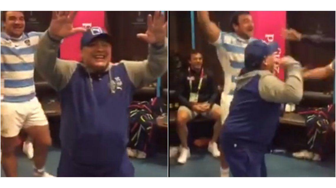 El video del festejo de Maradona con Los Pumas en el vestuario