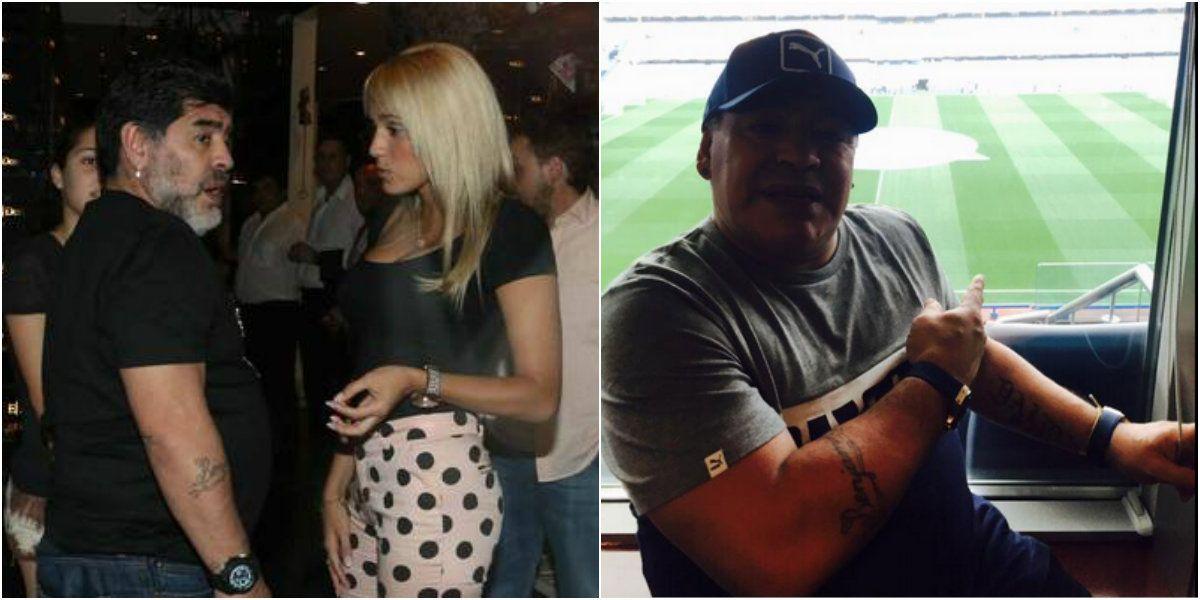 Diego Maradona viajó a Inglaterra con Rocío Oliva pisándole los pies