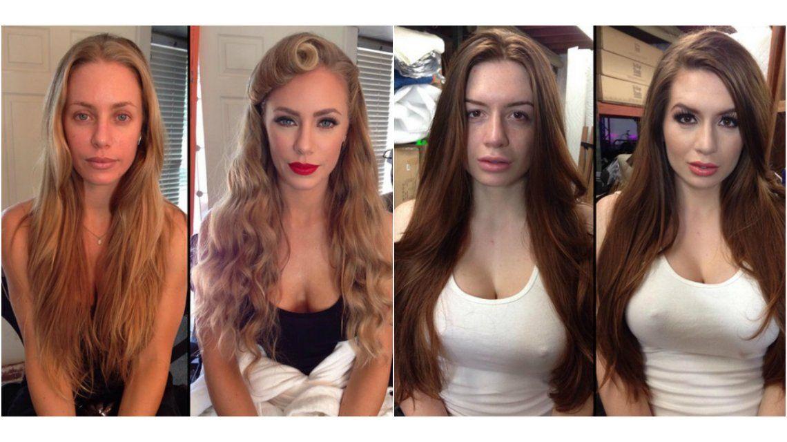 Muy diferentes: las estrellas internacionales de la industria porno, con y sin maquillaje