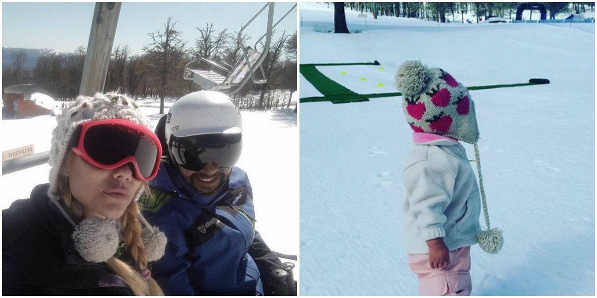 Las vacaciones en familia de Nicole Neumann con sus mini porotitas en la nieve