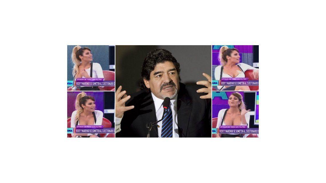 Vicky Xipolitakis escrachó a Diego Maradona: Estábamos en una fiesta, se me cayó la peluca y se la metió en...