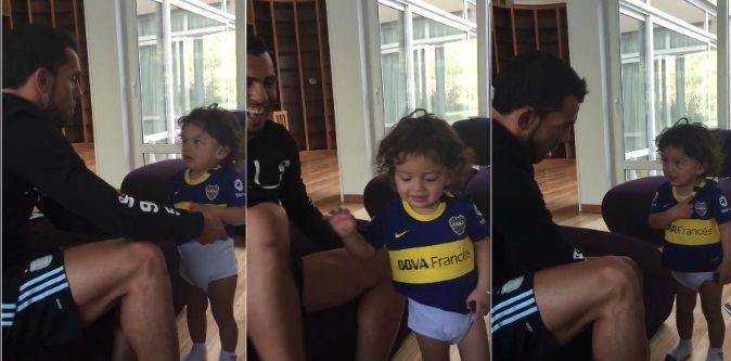 Siempre defendiendo la camiseta: mirá el video del hijo de Carlitos Tevez después del Boca-River