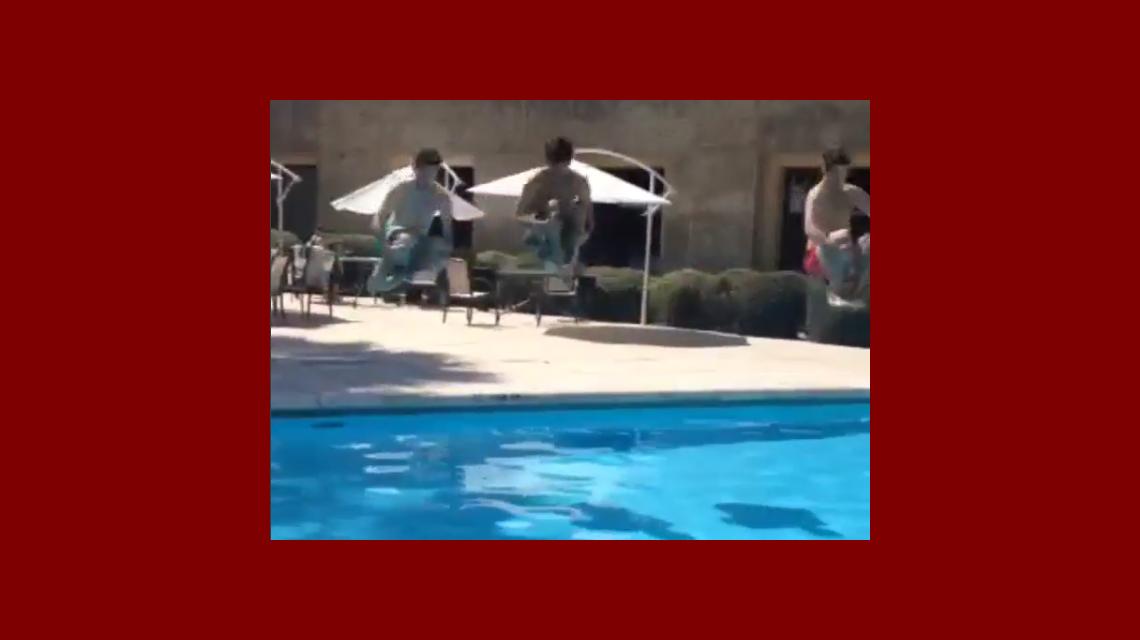 Mariano Martínez no le teme al frío: divertido chapuzón en el hotel de Córdoba ¡con el agua helada!