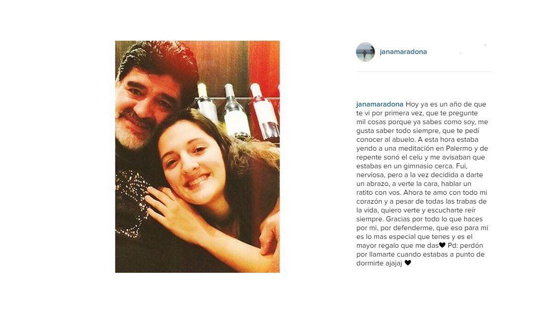 Jana Maradona, emocionada recordó el día que conoció a Diego: Ahora te amo con todo mi corazón