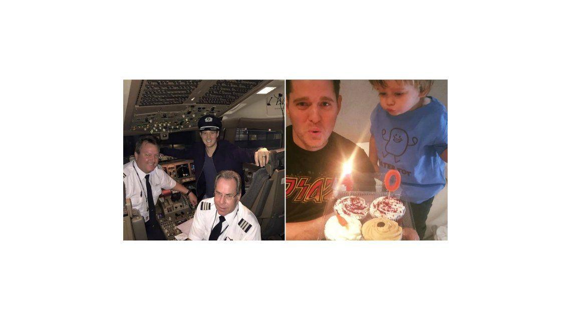 Michael Bublé festejó su cumpleaños arriba de un avión: mirá las fotos con Luisana Lopilato y Noah