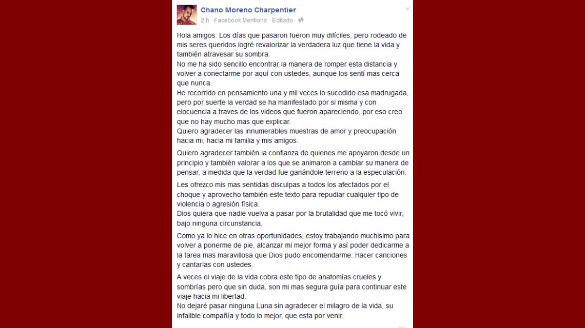 En una carta, Chano pidió disculpas y expresó repudio: Que nadie vuelva a pasar por esta brutalidad