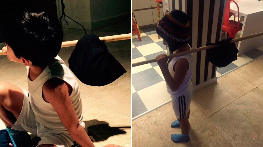La divertida transformación de Benja, el hijo de Gianinna Maradona y el Kun Agüero, en el Chavo del 8