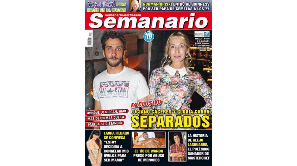 Fin del amor entre Luciano Cáceres y Gloria Carrá: Estamos separados