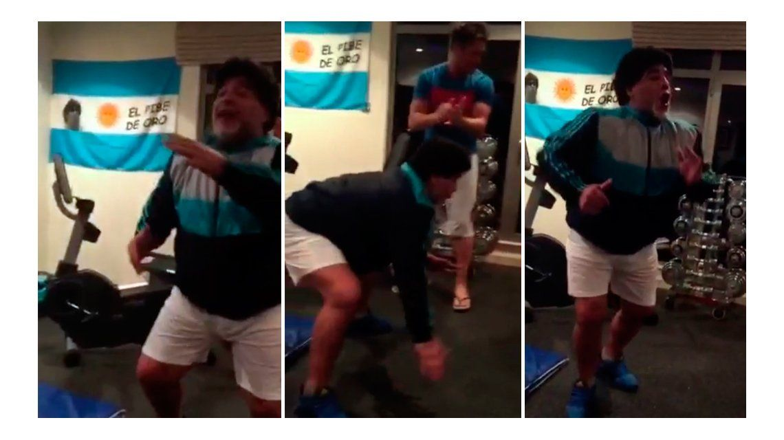¡Cómo menea! Lejos de la pelea con Claudia Villafañe, Maradona baila cumbia en Dubai con Alejo Clérici