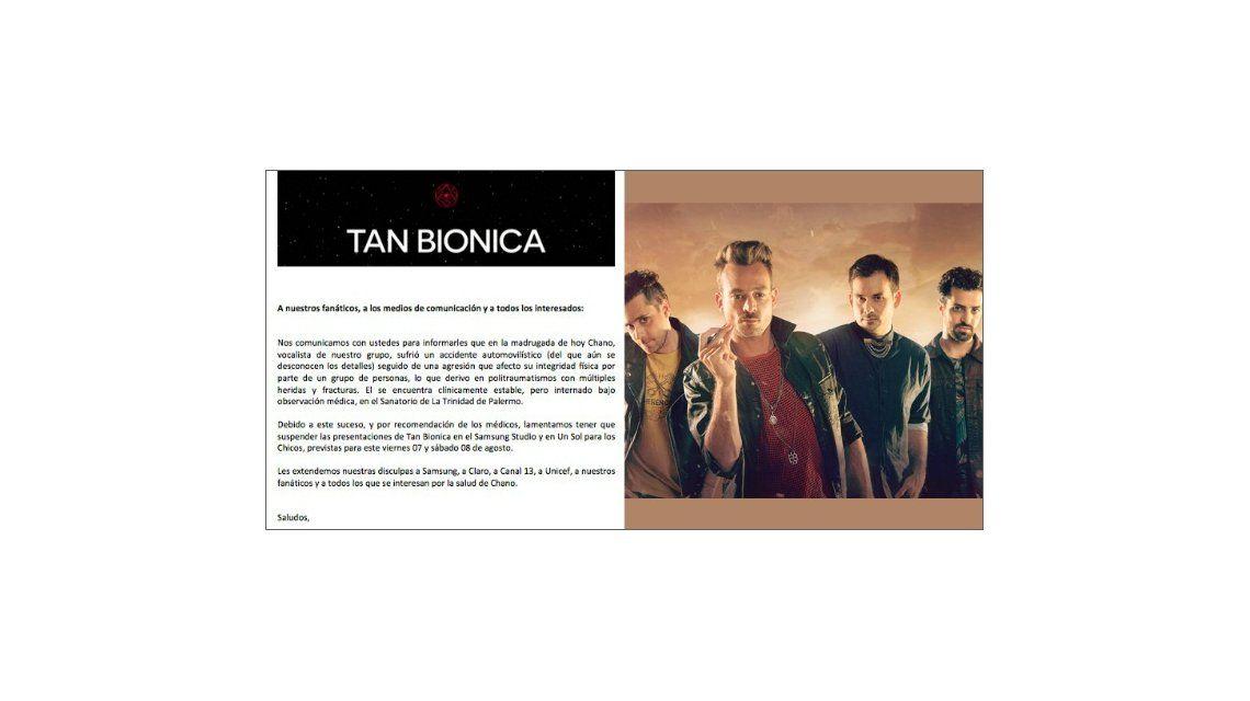 Otro comunicado de Tan Biónica: suspenden los shows para este fin de semana