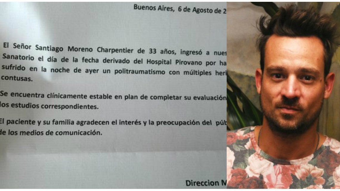 El parte oficial de Chano Charpentier: Politraumatismo con múltiples heridas contusas
