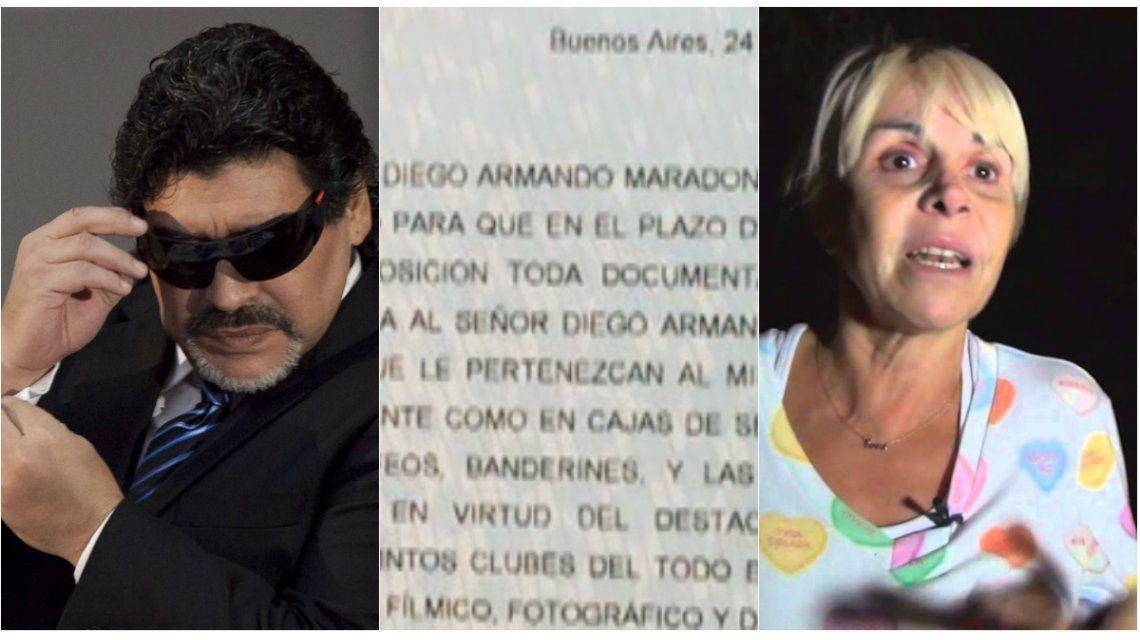 La carta documento que Diego Maradona le envió a Claudia Villafañe