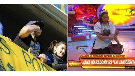 Mientras le reclama a Claudia, Maradona se aleja de Dalma y Gianinna y elige a Jana