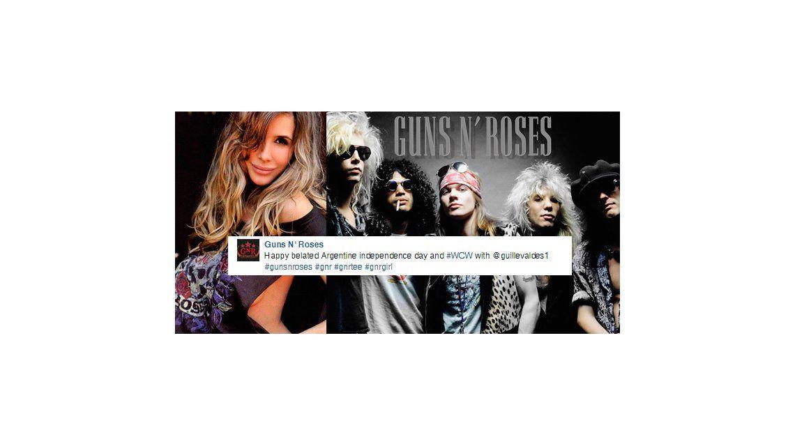 El sorprendente elogio de los Guns N Roses a Guillermina Valdes en su cuenta de Facebook