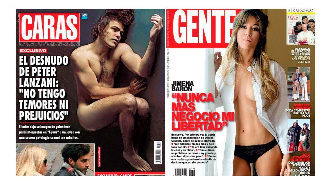 Desnudos: Jimena Barón y Peter Lanzani; y las fotos de Nicolás Cabré con Ailén Bechara, su nuevo amor