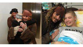 Johnny Depp sorprendió a los nenes de un hospital como Jack Sparrow