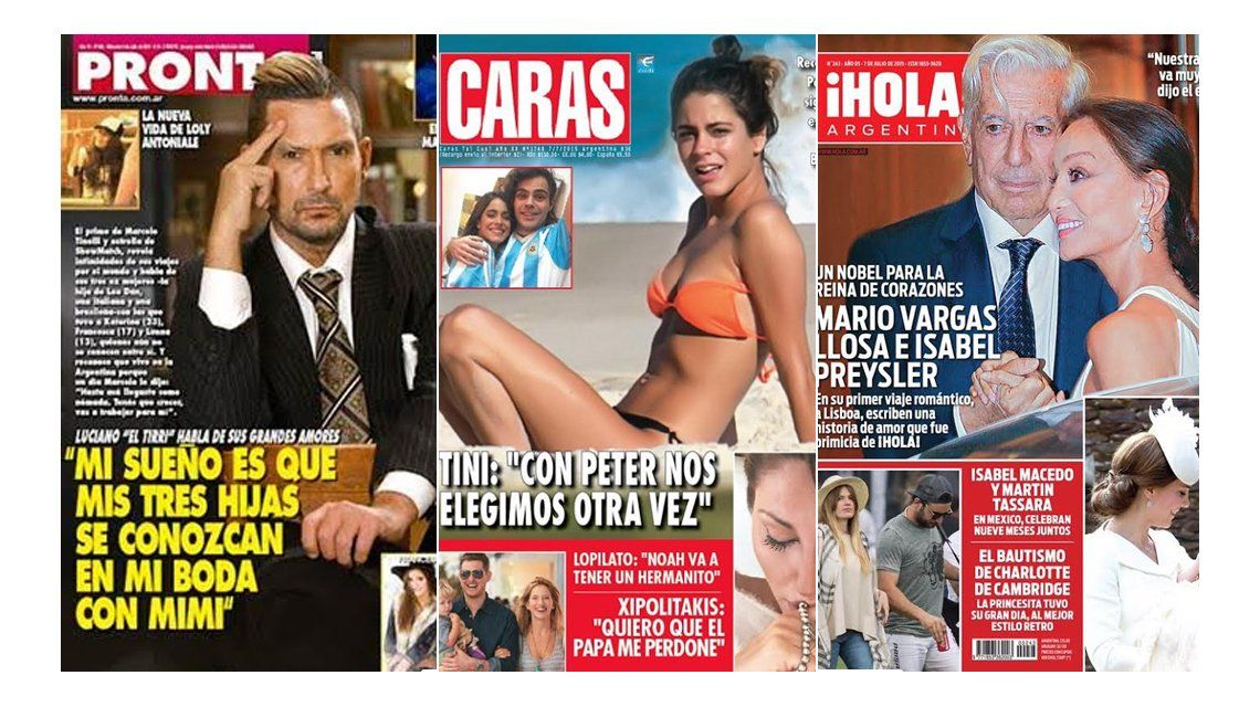 Tapas de revistas: El sueño de El Tirri para su boda y Tini Stoessel reafirma su amor con Peter Lanzani