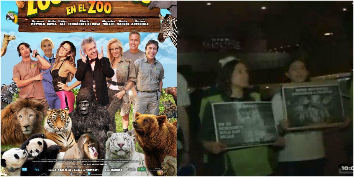 Defensores de animales hicieron un escrache en la avant premiere de Locos sueltos en el zoo