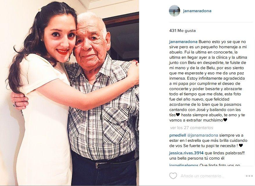 La carta de despedida de Jana Maradona a Don Diego: Fui la última en conocerte; siento que me esperaste