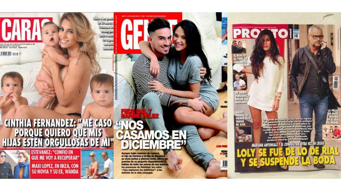 Tapas de revistas: Cinthia Fernández, Barbie Vélez y Federico Bal, a puro casamiento
