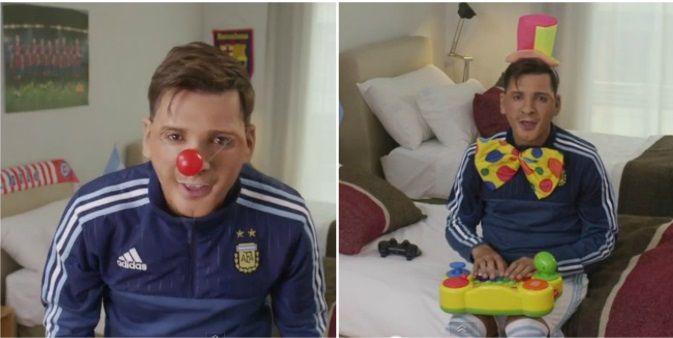 Desopilante video de Martín Bossi como Lionel Messi saludando al pequeño Thiago