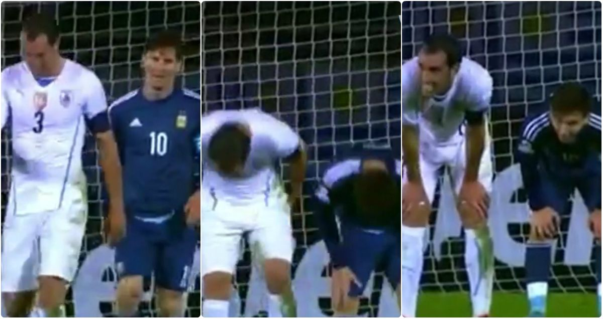 La increíble coreografía de Lionel Messi y un jugador uruguayo en pleno partido