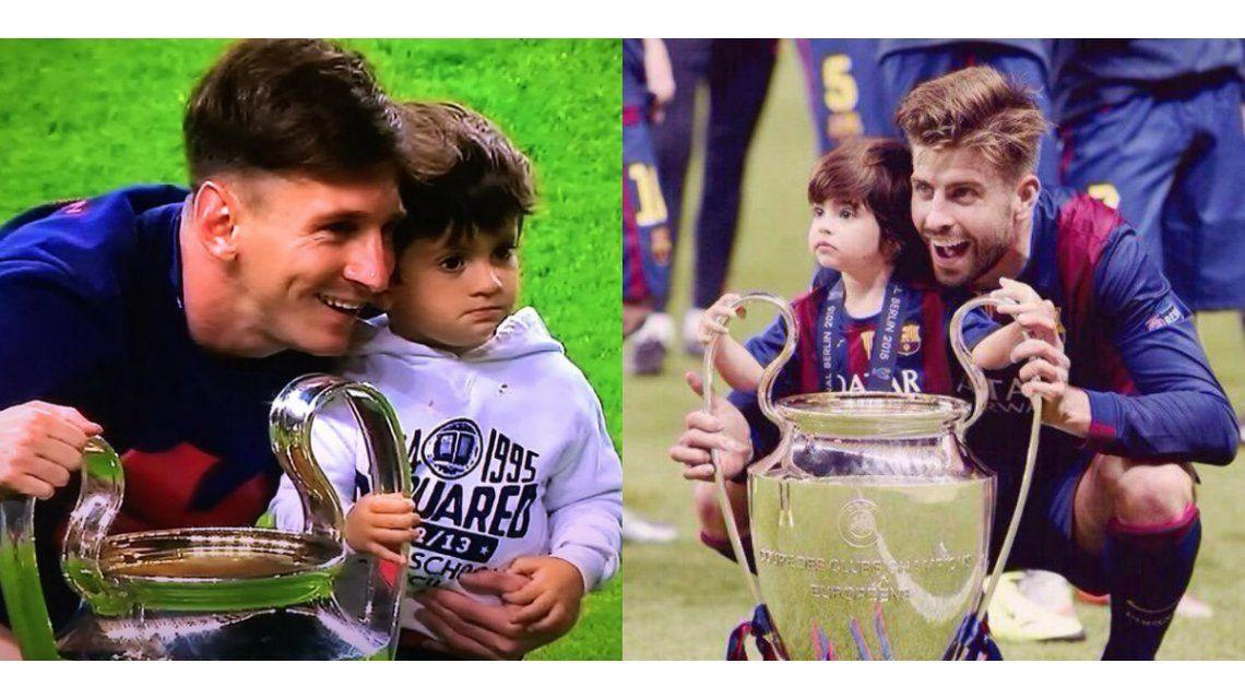 Las fotos del festejo de Lionel Messi junto a Thiago y Gerard Piqué con Milán