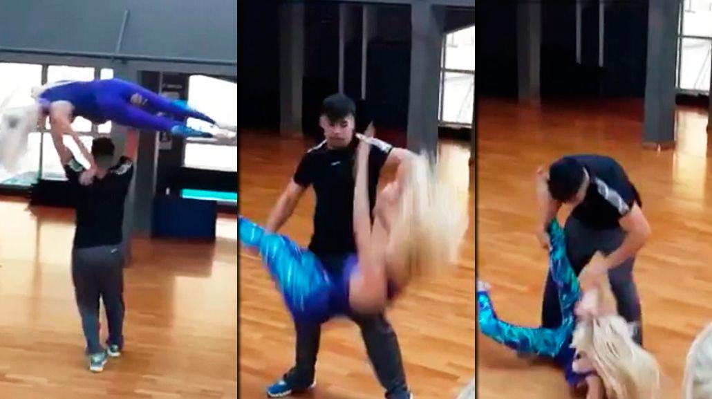 La terrible caída de Luciana Salazar en un ensayo del Bailando: mirá el video