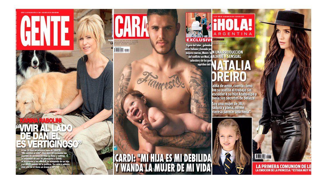 Mauro Icardi, en pose con su hija Francesca; Natalia Oreiro salvaje y sensual