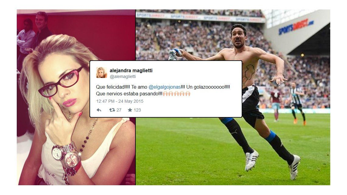 Alejandra Maglietti, la hincha número uno de Jonás Gutiérrez: primer gol tras la vuelta y mensajes de amor