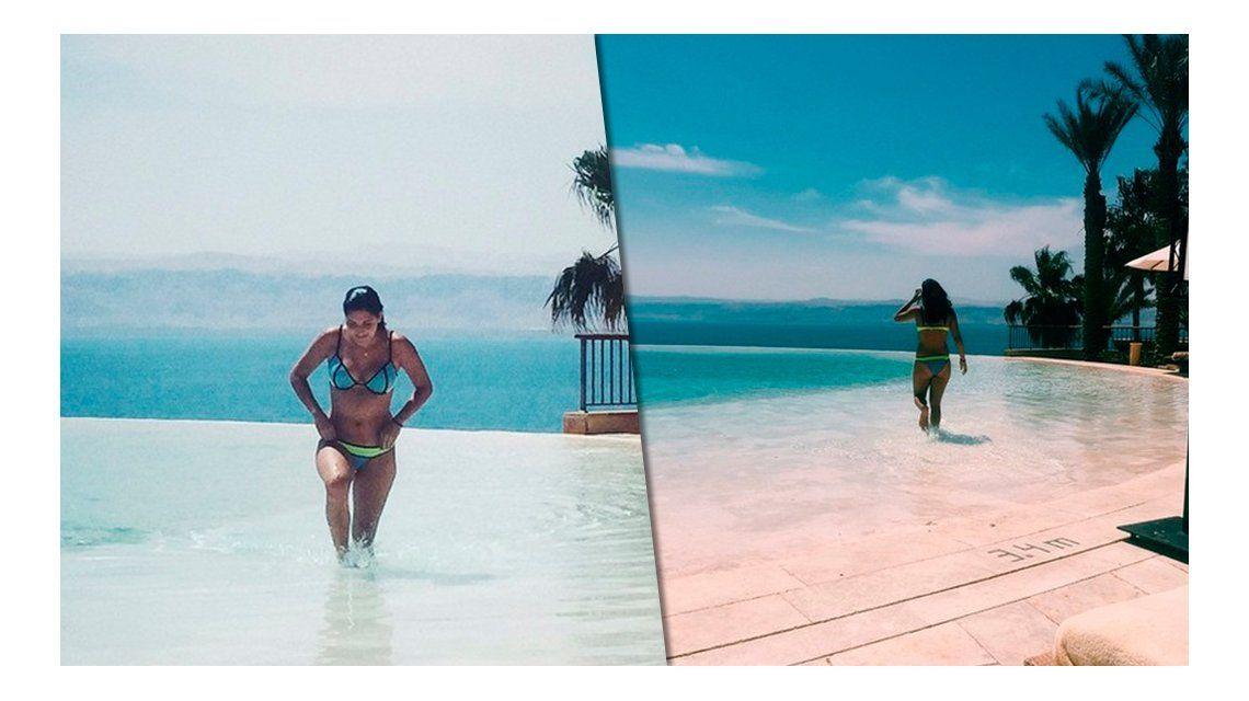 El destape de Jana Maradona en Dubai: fotos en bikini y entrenando con Diego y Oliva