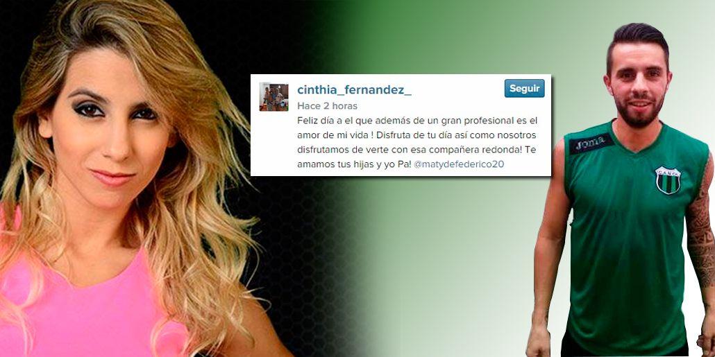 En el Día del Futbolista, la dedicatoria de Cinthia Fernández a Matías Defederico