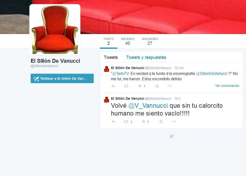 Después de abandonar el debate, el sillón de Victoria Vannucci tiene cuenta de Twitter