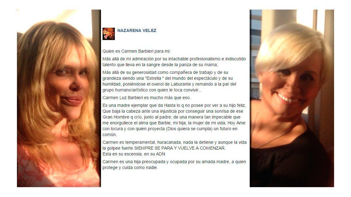 Luego de destrozarse con Carmen Barbieri, Nazarena escribió una carta abierta para elogiarla