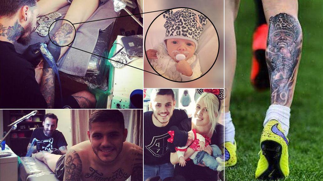Mauro Icardi, sin límites: ahora se hizo un enorme tatuaje de la cara de Francesca, su hija con Wanda Nara
