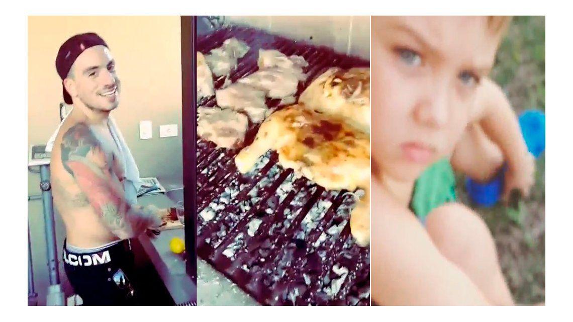 Los divertidos videos domingueros de Nazarena Vélez: Thiago enojado y Fede Bal... ¡haciendo asado!