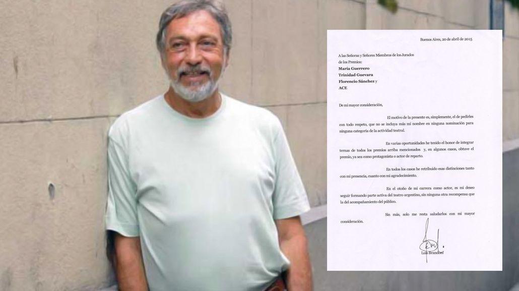 Descreído de los premios, Luis Brandoni renuncia a cualquier futura nominación en teatro