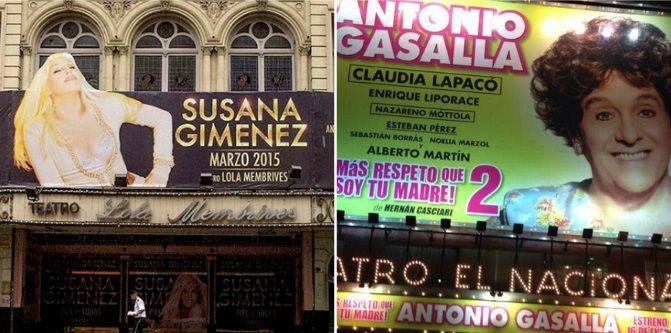 Susana Giménez y Antonio Gasalla volvieron a liderar la taquilla porteña