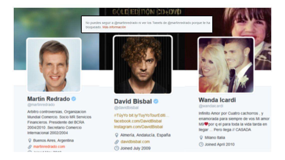 Nos bloquearon en Twitter Redrado, Bisbal y Wanda: furiosos con RatingCero.com