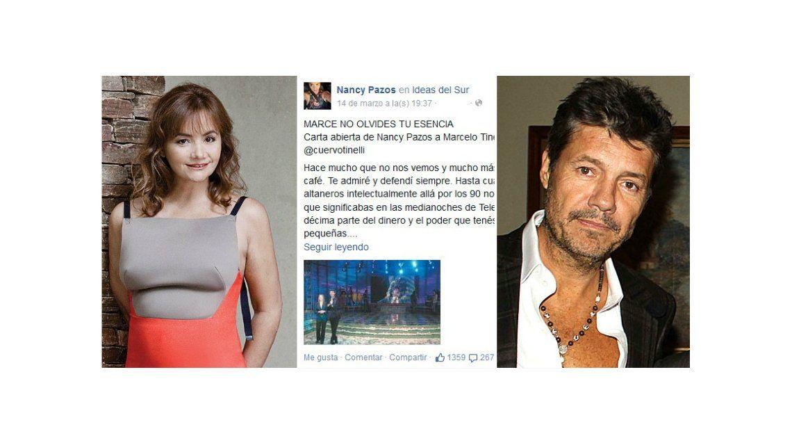 La carta abierta de Nancy Pazos a Marcelo Tinelli: No olvides nunca tu esencia