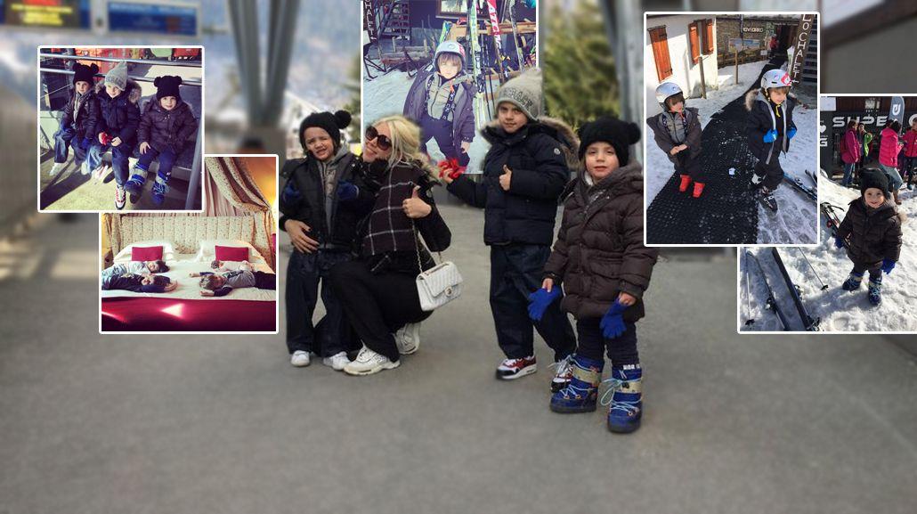 Las divertidas vacaciones de Wanda Nara y sus hijos en la nieve: Morimos de risa con las caídas