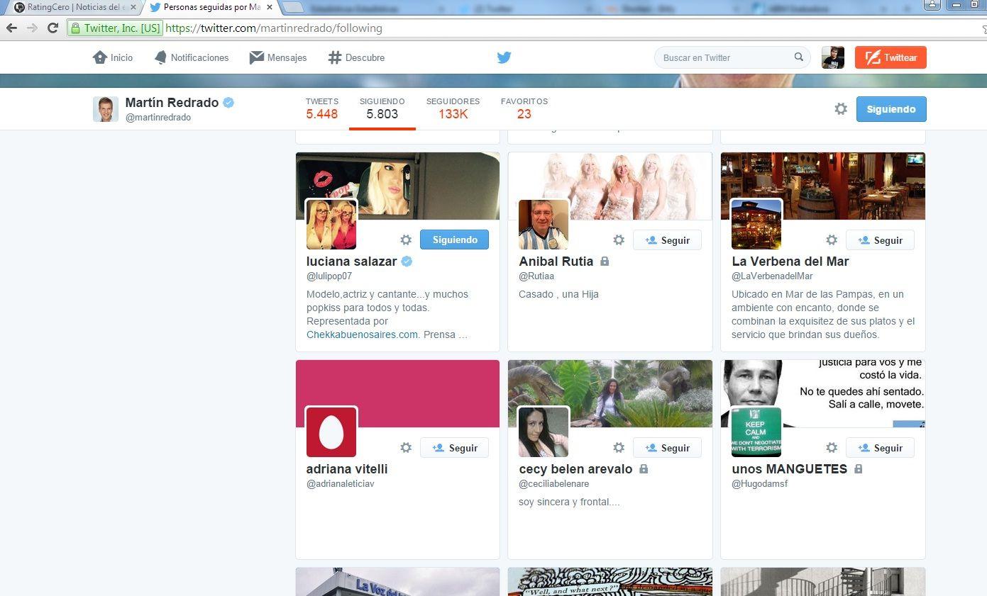 Martín Redrado sigue a Luciana Salazar y a su hermana en Twitter, pero no a Amalia Granata