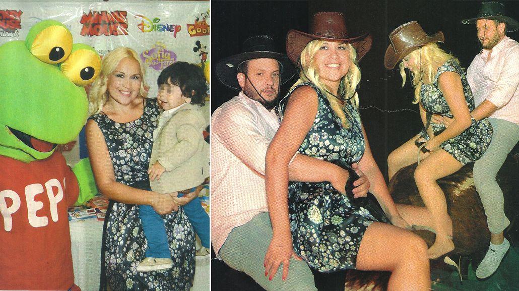 El alocado festejo de Verónica Ojeda en el cumpleaños de su hijo: arriba de un toro mecánico con su novio, Pablo Pugliese