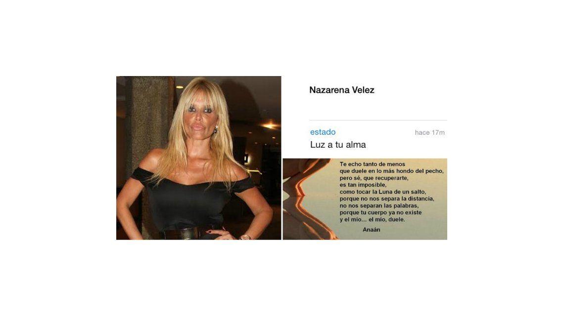 El cambio de estado de WhatsApp de Nazarena Vélez: de Muerte sobre la muerte a Luz a tu alma