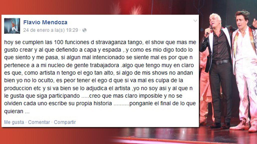 Sigue la furia de Flavio Mendoza: publicó un mensaje en Facebook feroz contra Nico Vázquez