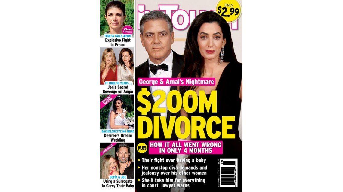 A cuatro meses de casarse, la esposa de George Clooney quiere el divorcio: No renuncia a su estilo de vida playboy